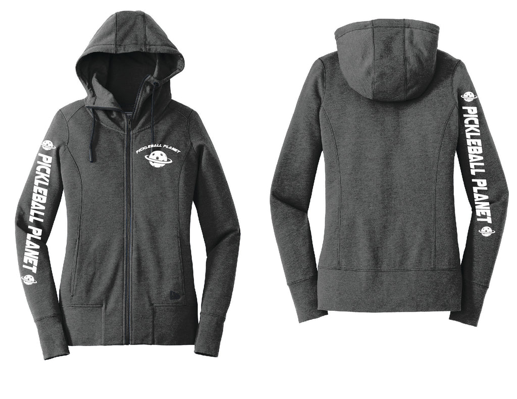 Ladies Full Zip Hoodie Black Heather Pickleball Planet
