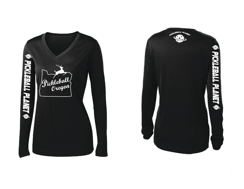 Ladies Long Sleeve Black V Neck Pickleball Oregon