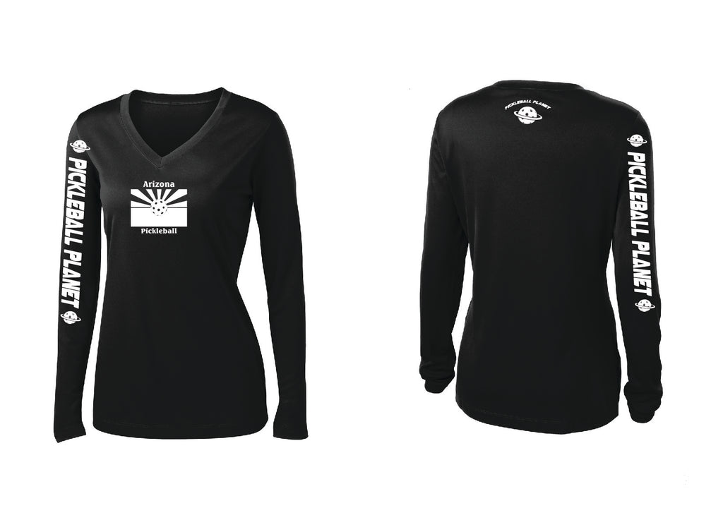 Ladies Long Sleeve Black V Neck Arizona Flag