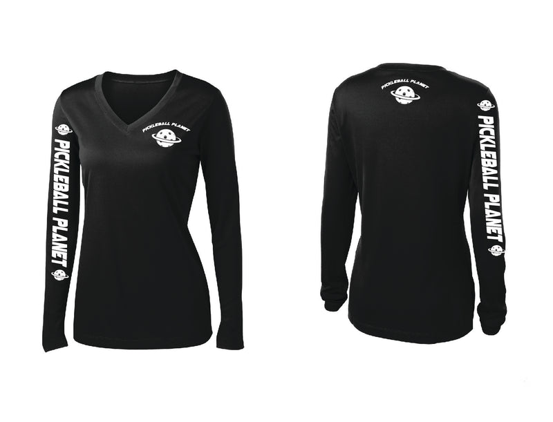 Ladies Long Sleeve Black Pickleball Planet