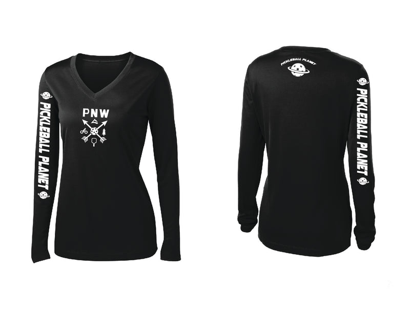 Ladies Long Sleeve Black V Neck PNW