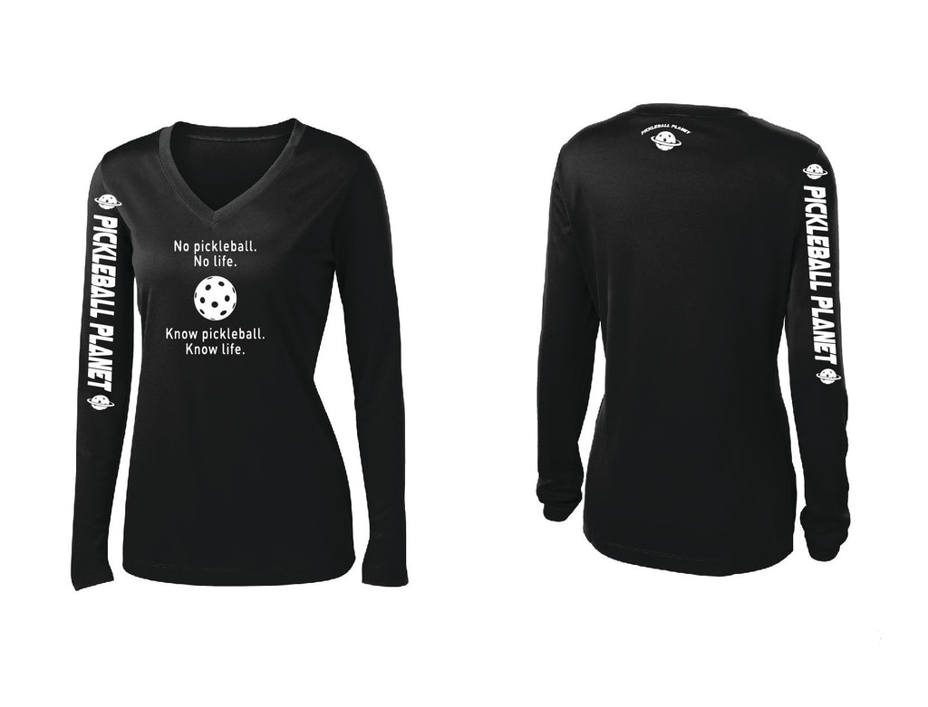 Ladies Long Sleeve V Neck Black Know Pickleball