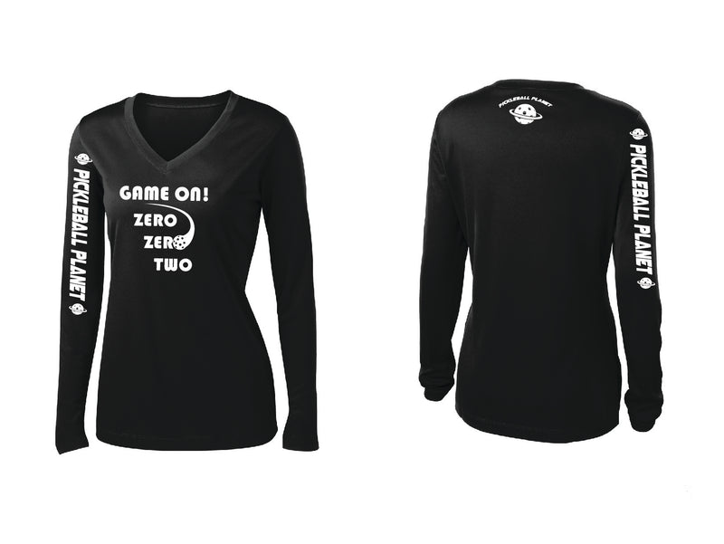 Ladies Long Sleeve Black V Neck Game On
