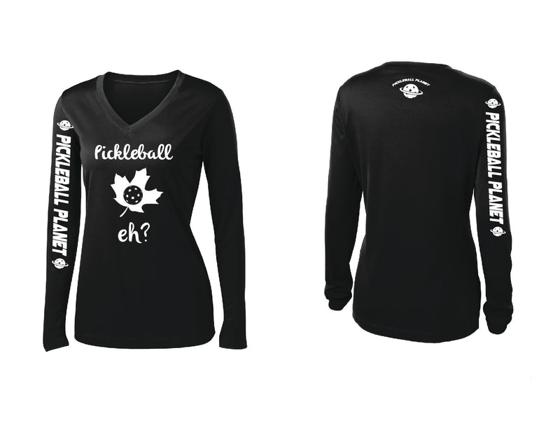 Ladies Long Sleeve Black Pickleball Eh