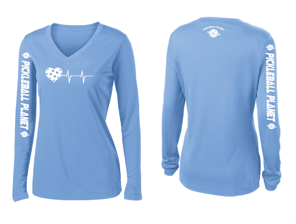 Ladies Long Sleeve V Neck Carolina Blue Heartbeat