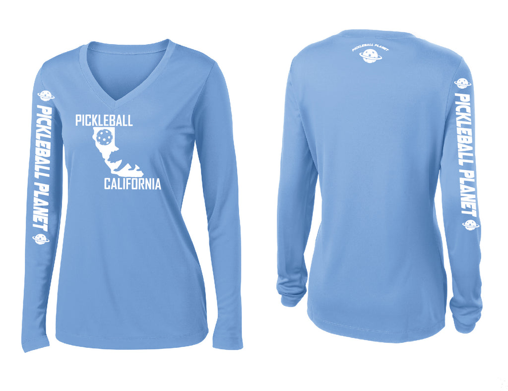 Ladies Long Sleeve V Neck Carolina Blue California Bear