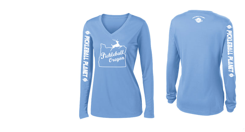 Ladies Long Sleeve V Neck Carolina Blue Pickleball Oregon
