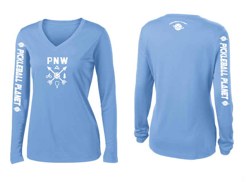Ladies Long Sleeve V Neck Carolina Blue PNW