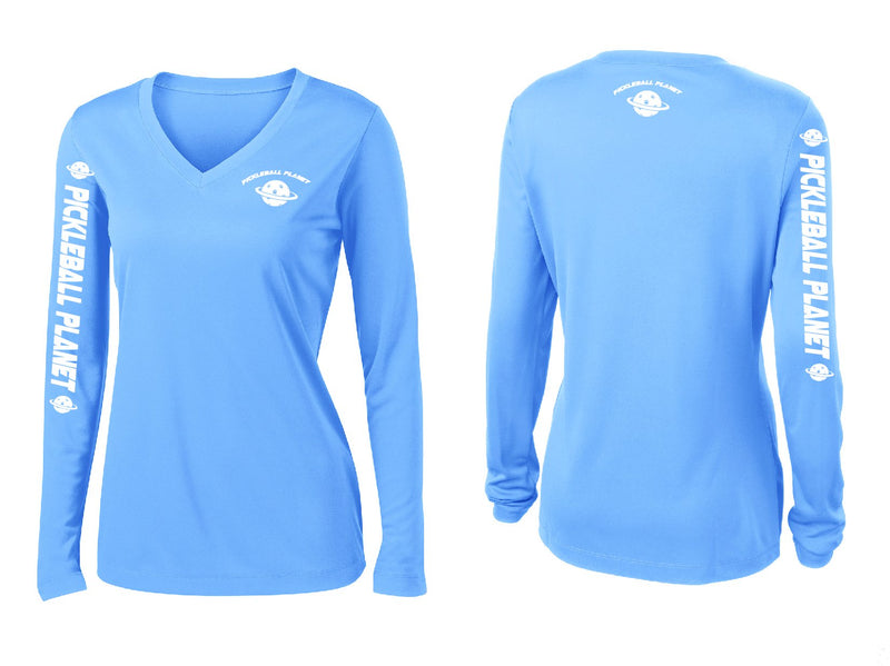 Ladies Long Sleeve V Neck Carolina Blue Pickleball Planet