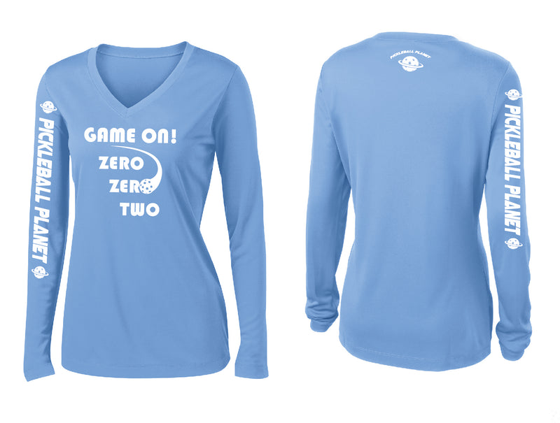 Ladies Long Sleeve V Neck Carolina Blue Game On
