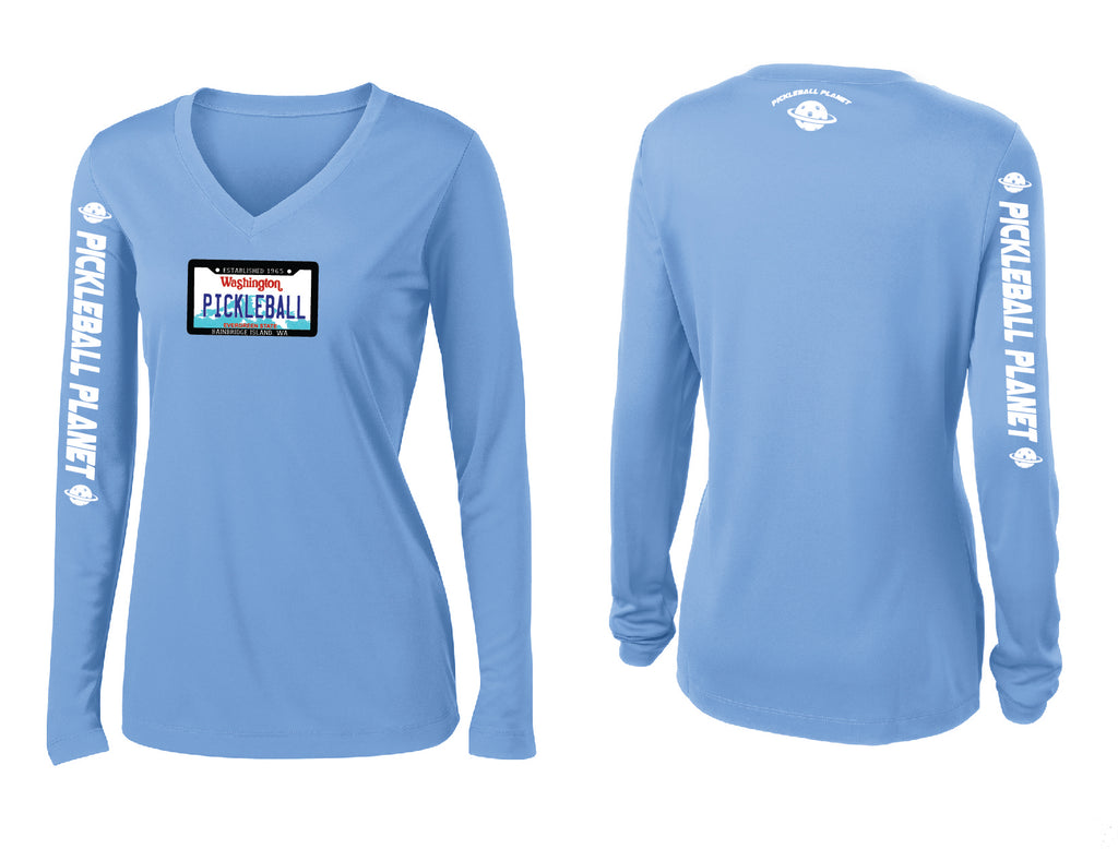 Ladies Long Sleeve V Neck Carolina Blue Washington Plate
