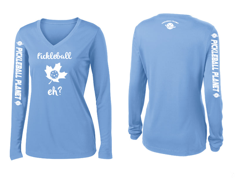 Ladies Long Sleeve V Neck Carolina Blue Pickleball Eh
