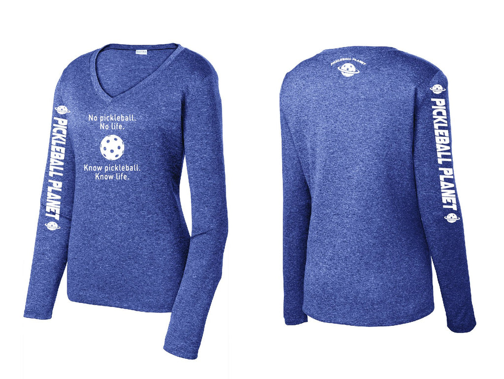 Ladies Long Sleeve V Neck Heather Navy Blue Know Pickleball
