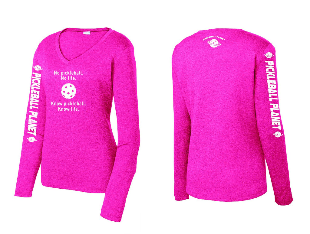 Ladies Long Sleeve V Neck Heather Pink Raspberry Know Pickleball