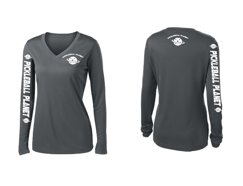 Ladies Long Sleeve Iron Gray Pickleball Planet