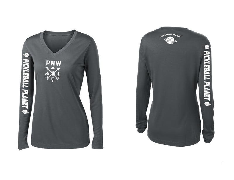 Ladies Long Sleeve Iron Gray V Neck PNW