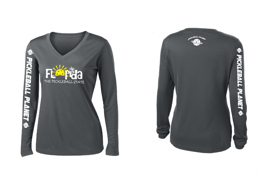 Ladies Long Sleeve V Neck Iron Gray Florida