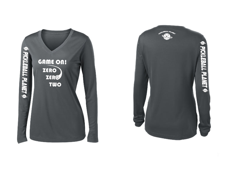 Ladies Long Sleeve Iron Gray V Neck Game On