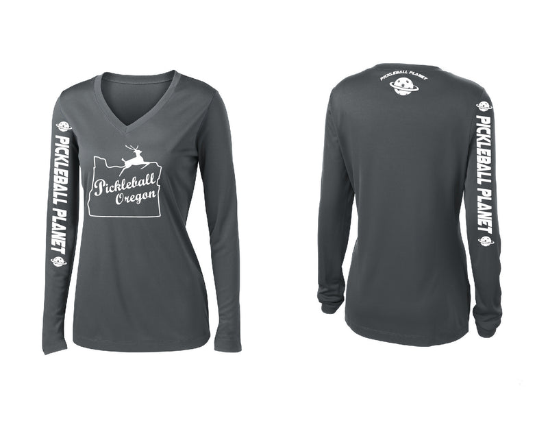 Ladies Long Sleeve Iron Gray V Neck Pickleball Oregon