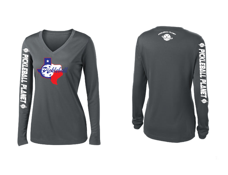 Ladies Long Sleeve Iron Gray V Neck Texas State