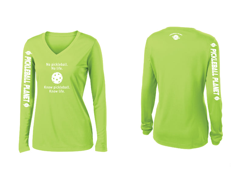Ladies Long Sleeve V Neck Lime Shock Green Know Pickleball