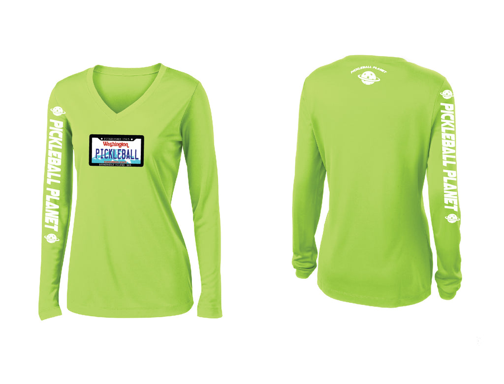 Ladies Long Sleeve V Neck Lime Shock Green Washington Plate