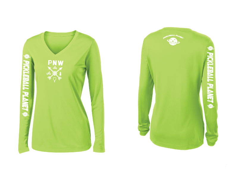 Ladies Long Sleeve Lime Shock Green V Neck PNW
