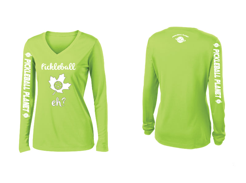 Ladies Long Sleeve Lime Shock Green Pickleball Eh
