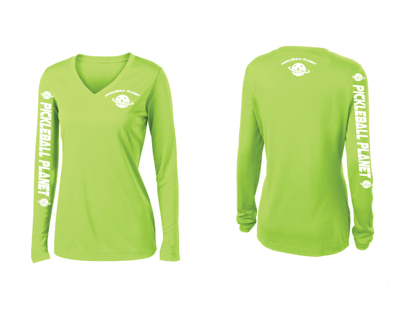Ladies Long Sleeve Lime Shock Green Pickleball Planet