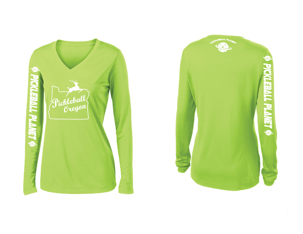 Ladies Long Sleeve Lime Shock Green V Neck Pickleball Oregon