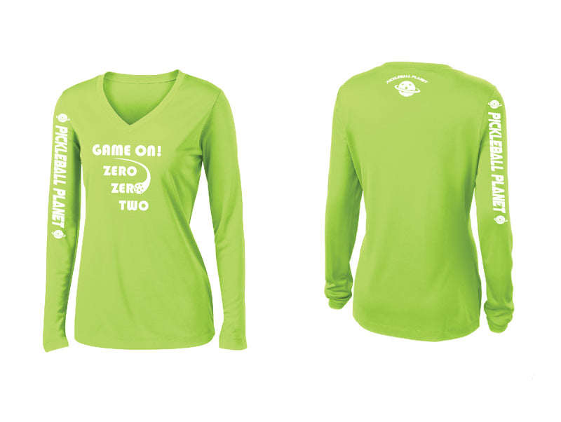 Ladies Long Sleeve Lime Shock Green V Neck Game On