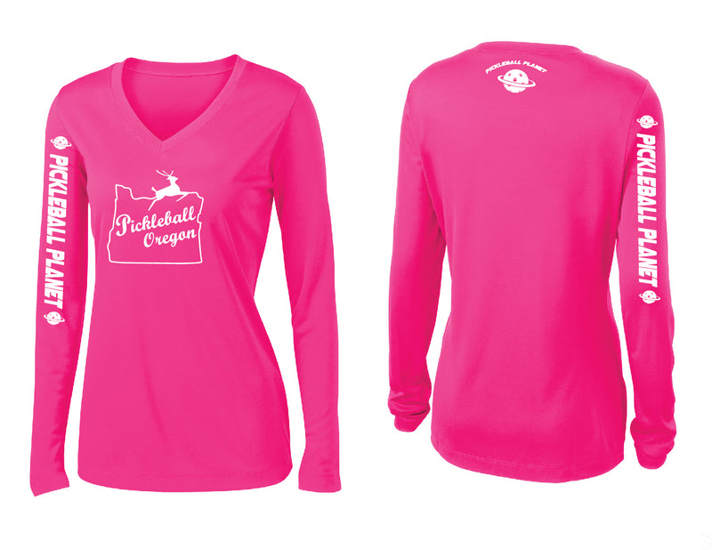 Ladies Long Sleeve Neon Pink V Neck Pickleball Oregon