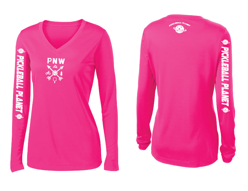 Ladies Long Sleeve Neon Pink V Neck PNW