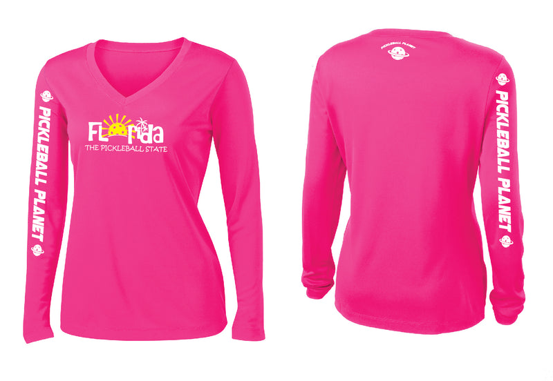 Ladies Long Sleeve V Neck Neon Pink Florida
