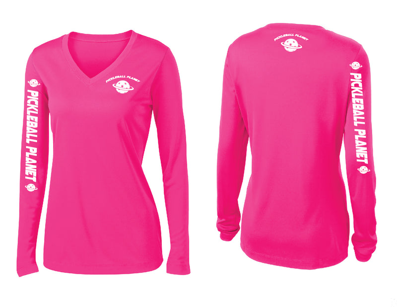 Ladies Long Sleeve Neon Pink Pickleball Planet