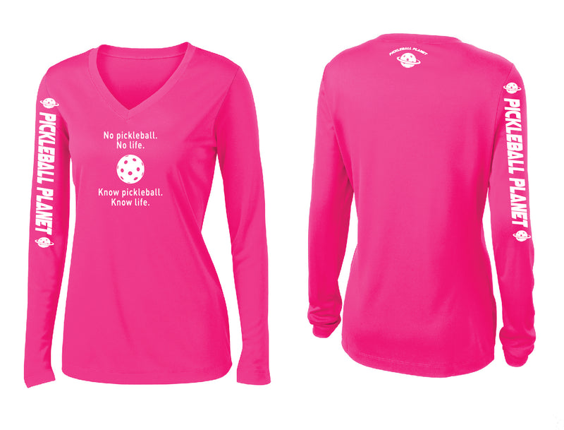 Ladies Long Sleeve V Neck Neon Pink Know Pickleball