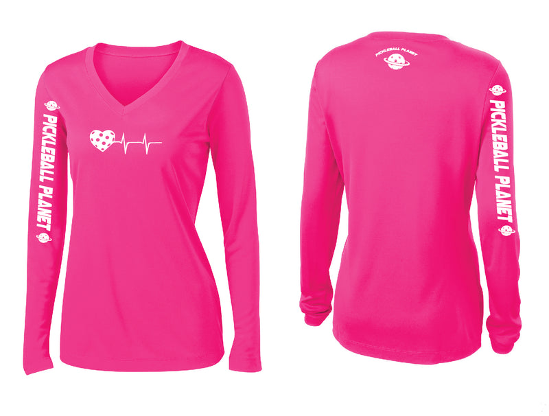 Ladies Long Sleeve Neon Pink V Neck Heartbeat