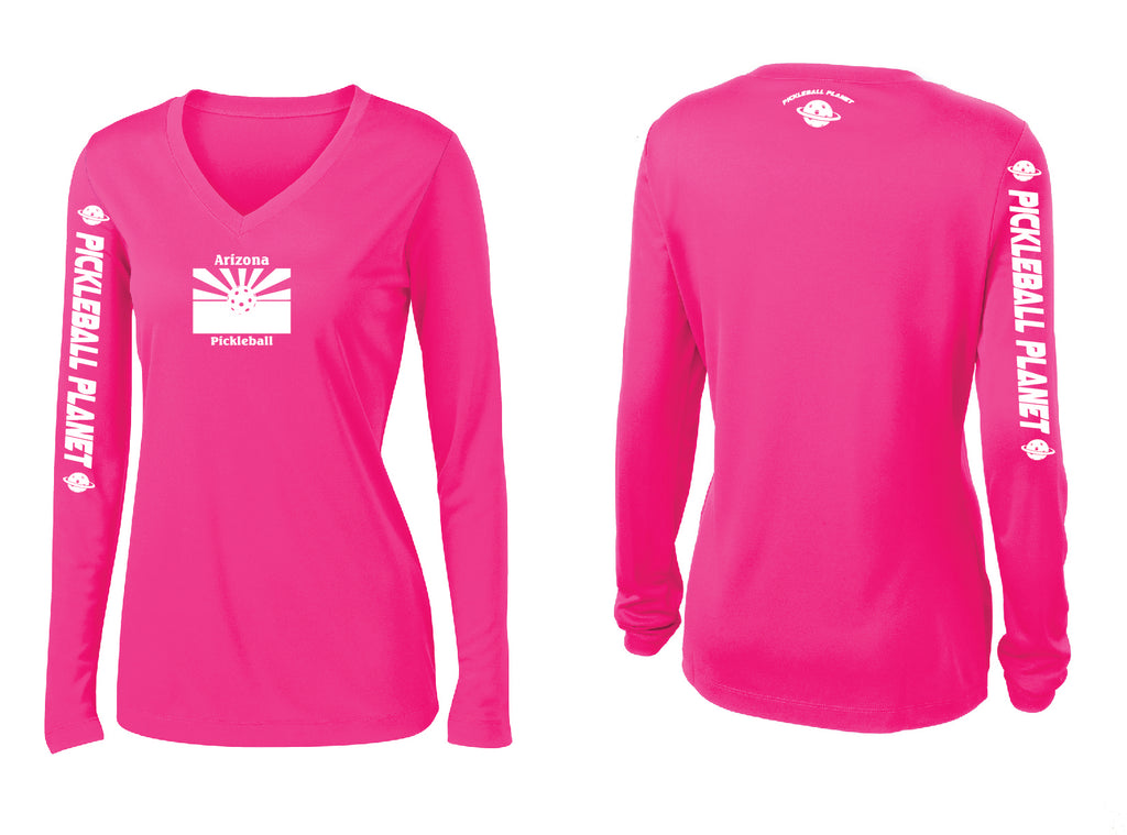 Ladies Long Sleeve Neon Pink V Neck Arizona Flag