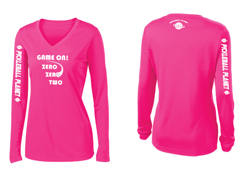 Ladies Long Sleeve Neon Pink V Neck Game On