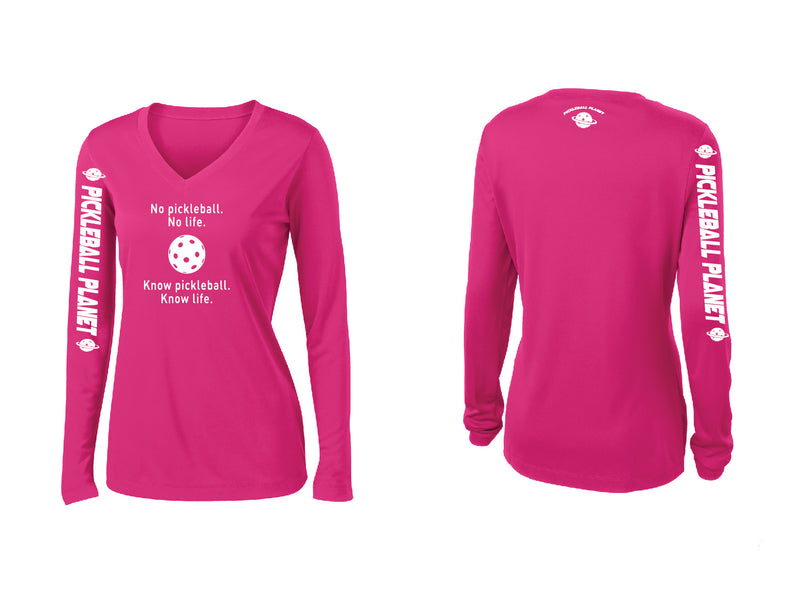 Ladies Long Sleeve V Neck Pink Raspberry Know Pickleball