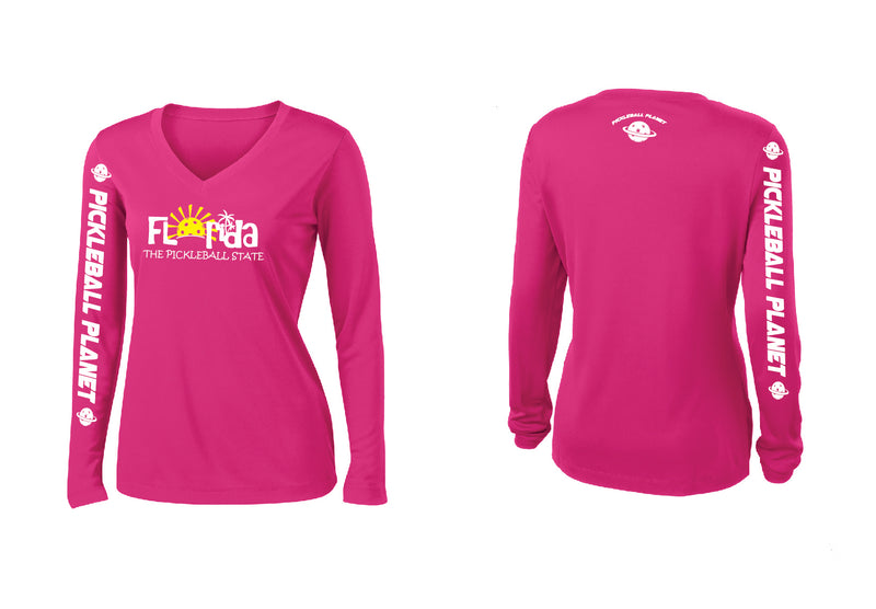 Ladies Long Sleeve V Neck Pink Raspberry Florida