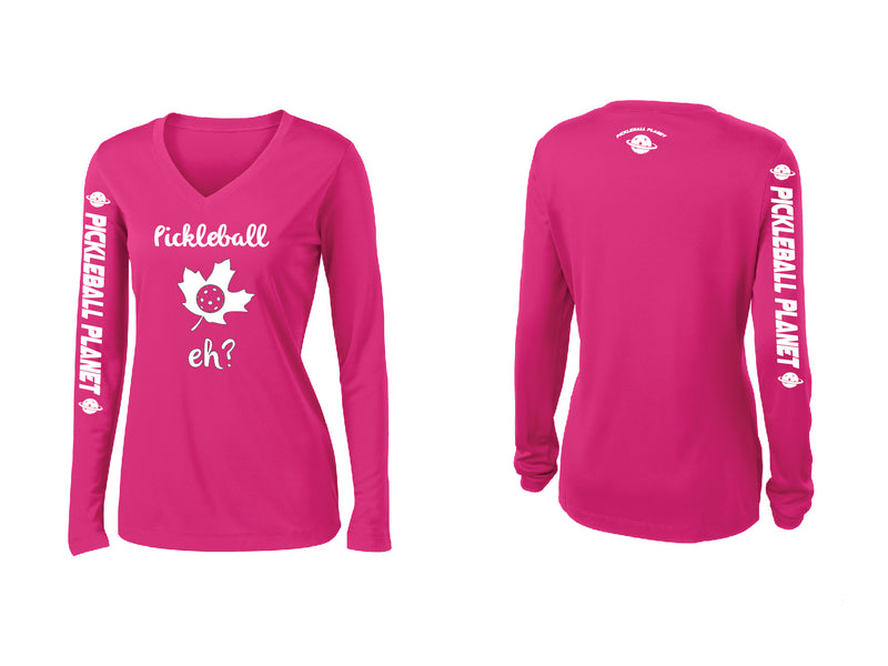 Ladies Long Sleeve Pink Raspberry Pickleball Eh