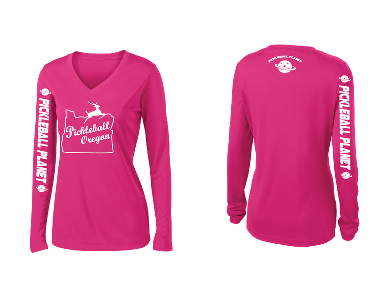 Ladies Long Sleeve Pink Raspberry V Neck Pickleball Oregon