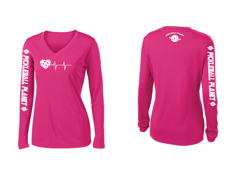 Ladies Long Sleeve Pink Raspberry V Neck Heartbeat