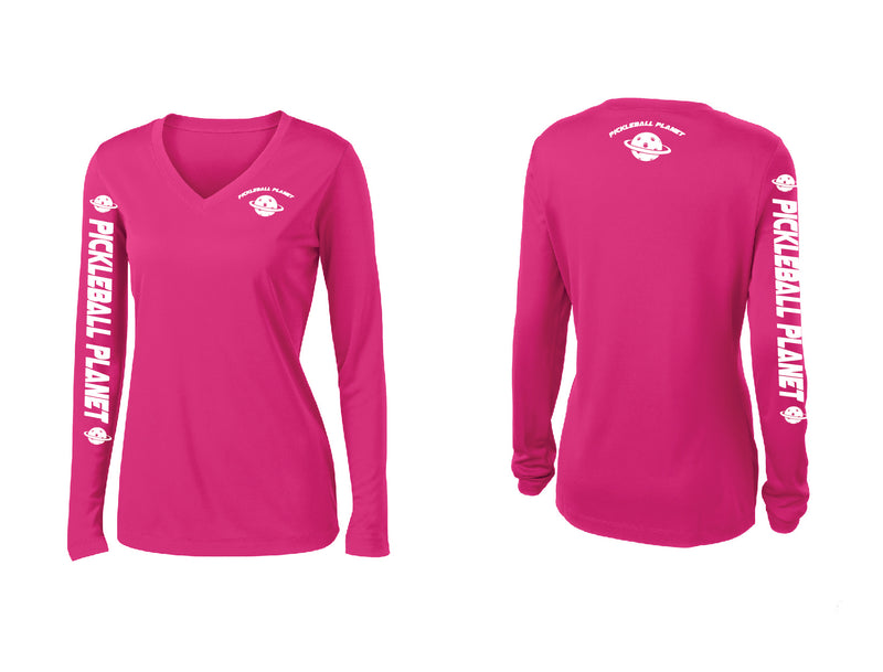 Ladies Long Sleeve Pink Raspberry Pickleball Planet