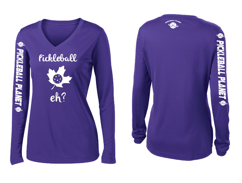 Ladies Long Sleeve Purple Pickleball Eh