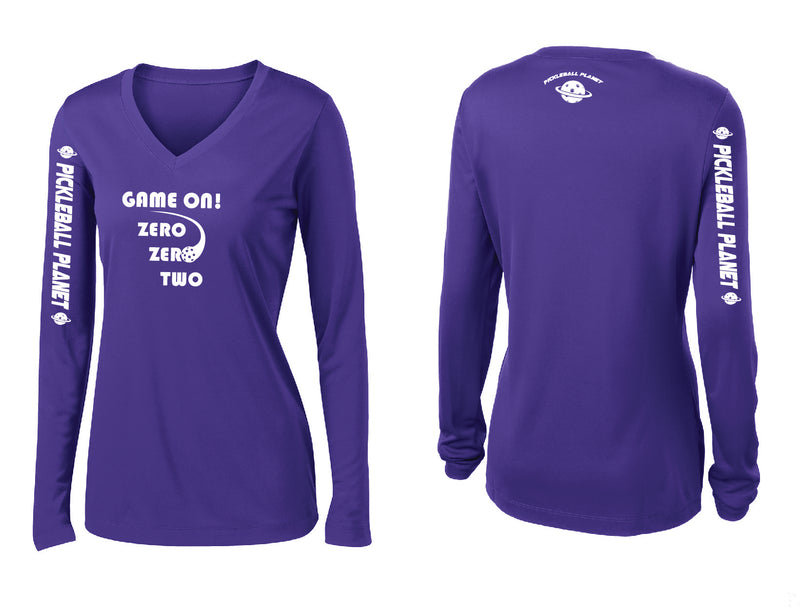 Ladies Long Sleeve Purple V Neck Game On