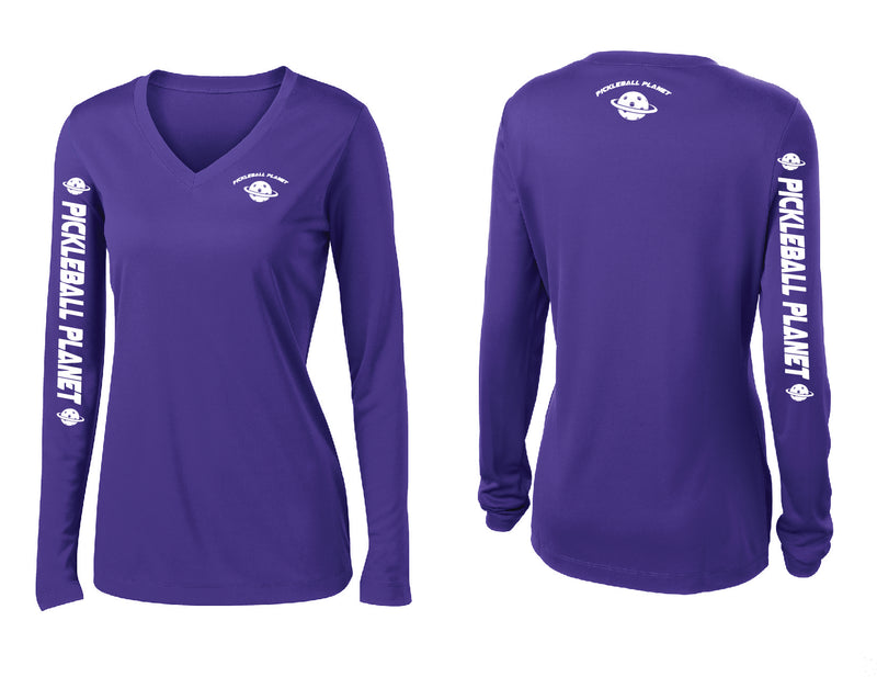 Ladies Long Sleeve Purple Pickleball Planet
