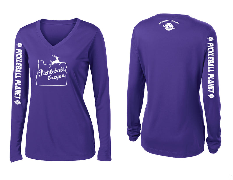 Ladies Long Sleeve Purple V Neck Pickleball Oregon