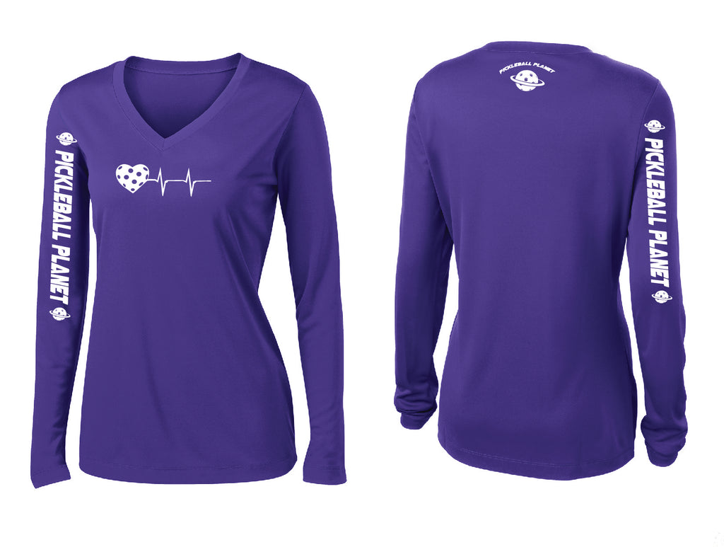 Ladies Long Sleeve Purple V Neck Heartbeat